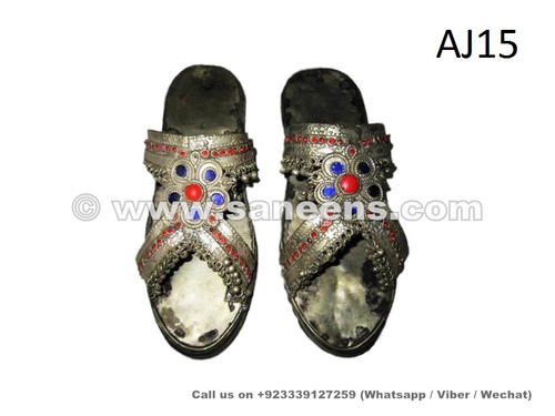 Traditional Chappal Shoes in sterling silver Antique, Chandi ke chappal