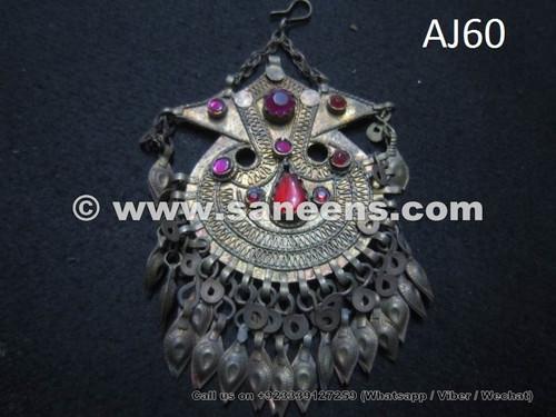 afghan kuchi tribal pendant with stones