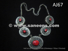 afghan kuchi necklace with coral stones