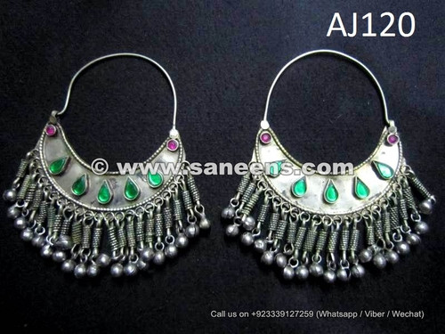 traditional afghan kuchi earrings in german silver