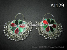 afghan kuchi handmade earrings with stones