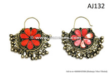 kuchi tribal artwork earrings with red stones
