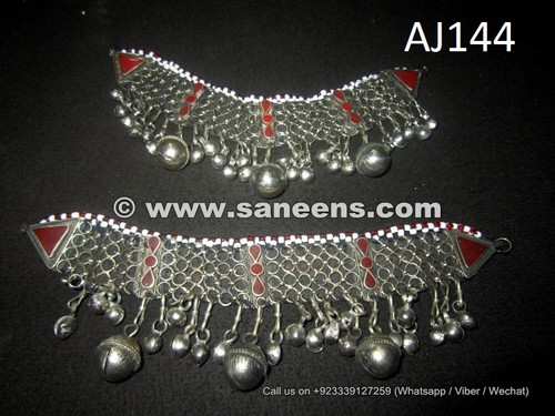 afghan kuchi tribal anklets with stones