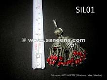 pure silver metal afghan kuchi earrings