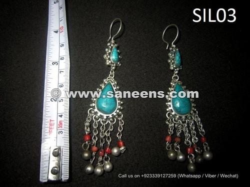 afghan kuchi earrings in pure silver metal