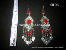 wholesale kuchi tribal earrings in silver and coral stones