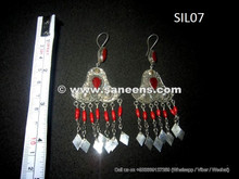 tribal kuchi earrings in silver metal, afghan coral stones wholesale jewelry in silver earplugs