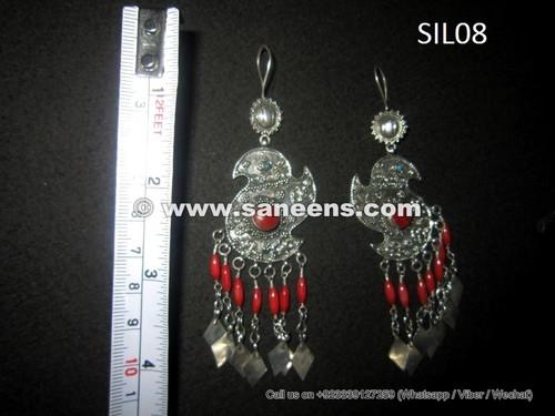 afghan tribal kuchi earrings in silver metal