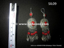 afghanistan tribal kuchi silver earrings, wholesale gypsy river earrings earplugs