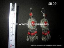 afghanistan tribal kuchi silver earrings, wholesale gypsy river earrings earplugs