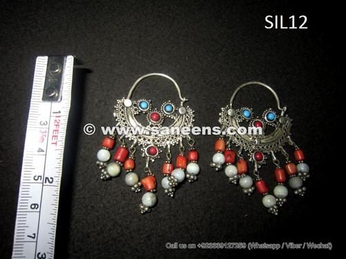 wholesale kuchi tribal earrings in pure silver metal