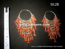 afghan jewelry, kuchi jewellery, handmade tribal earrings in pure silver