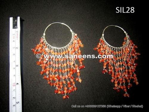 afghan jewelry, kuchi jewellery, handmade tribal earrings in pure silver