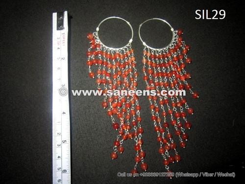 afghan kuchi jewellery, handmade tribal earrings in pure silver