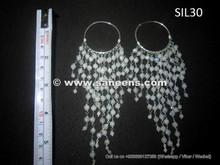 handmade tribal earrings with gemstones, afghan kuchi jewellery in pure silver