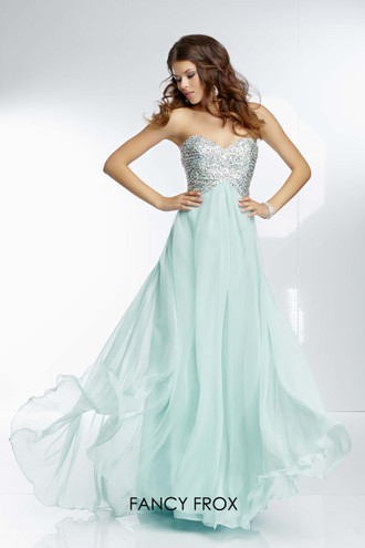 Paparazzi Evening & Prom 95057. Mint size 10 Strapless beaded top with chiffon bottom and keyhole back