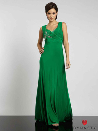 Dynasty Evening & Prom 1012020 Two strap pleated detail with modesty panel & back empire beading & a slinky jersey sheen skirt