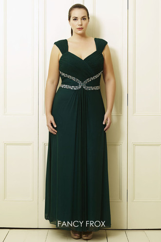 Dynasty Evening & Prom 31012406 Two strap detailed waistband with a chiffon floaty skirt.
