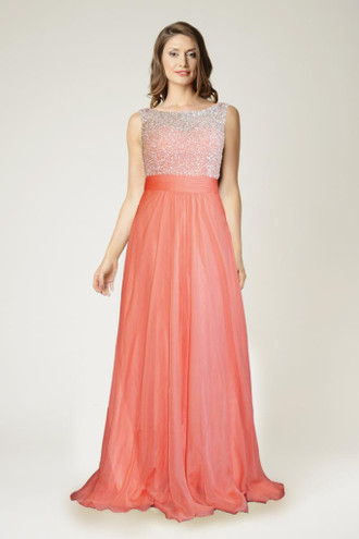 Dynasty Evening & Prom 1012620 Delicately beaded top with a ruched waistband and a chiffon skirt