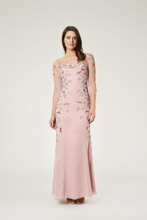 Dynasty Evening & Prom 1012613 Illusion beaded sleeves with continued beading down the sides & a fitted skirt