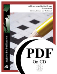 A Midsummer Night's Dream Puzzle Pack Worksheets, Activities, Games (PDF on CD)
