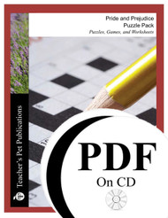 Pride and Prejudice Puzzle Pack Worksheets, Activities, Games (PDF on CD)
