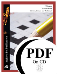 Witness Puzzle Pack Worksheets, Activities, Games (PDF on CD)