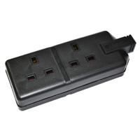 Permaplug - 2-Gang 13A Socket - Black
