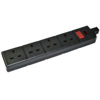 Permaplug - 4-Gang 13A Socket - Black (Unwired)