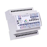 DIN Rail mount DALI controlled 6 channel mains relay.