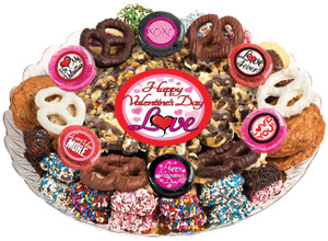 Valentine's Day Caramel Popcorn & Cookie Platter - Love