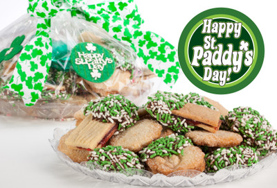 St Patrick's Day Raspberry Sandwich Butter Cookies