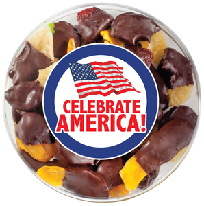 CELEBRATE AMERICA  CHOCOLATE DIPPED DRIED FRUIT