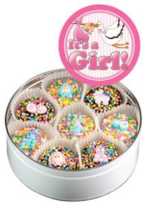 Baby Girl Decorated Chocolate Oreo 16 Pc Tin
