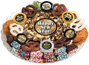 Happy New Year Caramel Popcorn & Cookie Assortment Platter