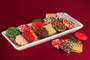 This is the attractive reusable ceramic platter with cookies