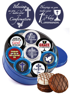 "COMMUNION/ CONFIRMATION - ""COOKIE TALK""CHOCOLATE OREO  w/ MESSAGES - 16 Pc TIN"