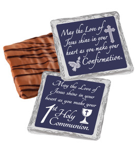 "COMMUNION/ CONFIRMATION-  ""COOKIE TALK"" CHOCOLATE GRAHAMS w/ MESSAGES"