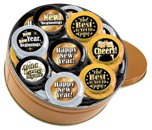 """HAPPY NEW YEAR """"COOKIE TALK"""" CHOCOLATE OREO 16 PC TIN W/ MESSAGES"""