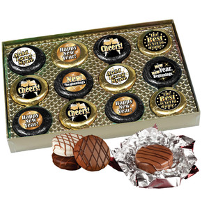 """Happy New Year """"Cookie Talk"""" Chocolate Oreo  12 Pc. Gift Box W/ Messages"""