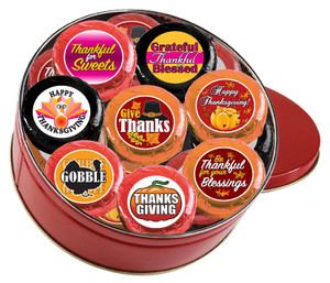 "THANKSGIVING ""COOKIE TALK"" CHOCOLATE OREO 16 Pc.TIN w/ MESSAGES"