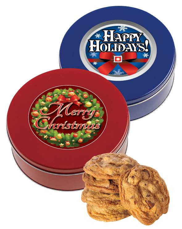 Christmas Tin Cookies.Christmas Holiday Chocolate Chip Cookie Tin