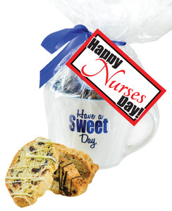 Nurse Appreciation Ceramic Mug W/ Biscottis  &  Hangtag