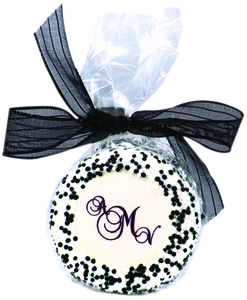 Wedding Monogram Chocolate Oreo Bag - Black Ribbon