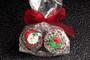 Christmas Decorated Chocolate Oreo with Sugar Art - duo
