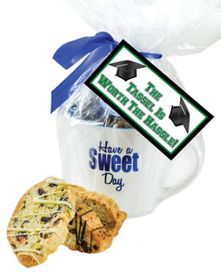 BACK-TO-SCHOOL CERAMIC MUG W/ BISCOTTIS  W/ BACK-TO-SCHOOL HANGTAG