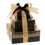 Cheerful & Happy 3 Tier Tower of Treats - Brown & Gold Stripes