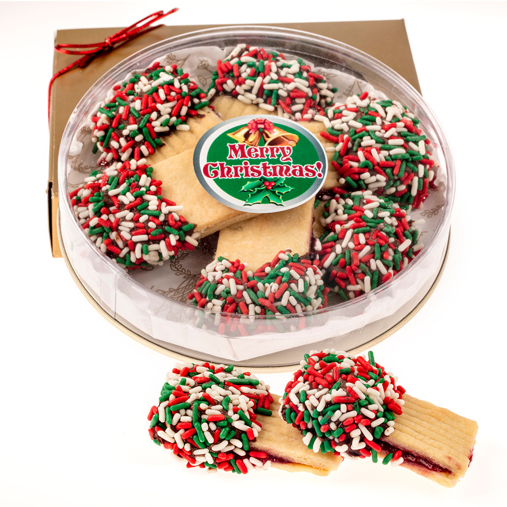 Christmas Raspberry Filled Butter Cookie Gift Tin Boxed