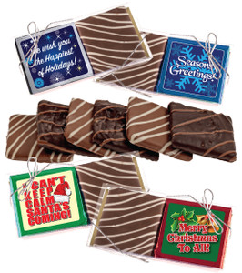 "CHRISTMAS/ HOLIDAY ""COOKIE TALK"" CHOCOLATE GRAHAM DUO W/ MESSAGES"