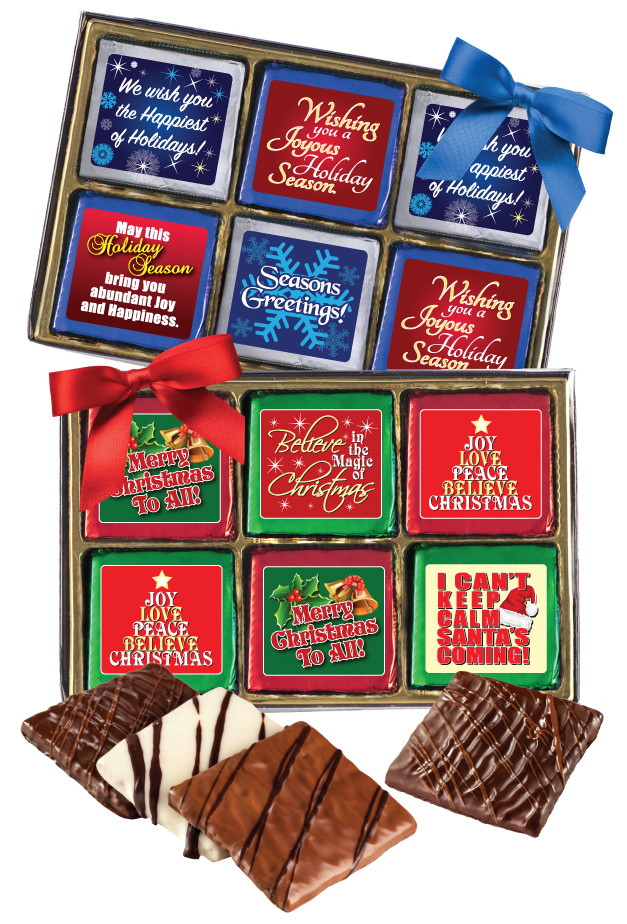 Christmas Holiday Cookie Talk Chocolate Grahams W Messages 12 Pc Gift Box